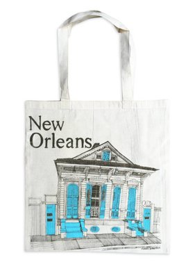 New Orleans Shotgun House Tote, Aqua