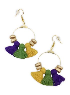 Mardi Gras Chubbies Gold Hoop & Tassel Earrings