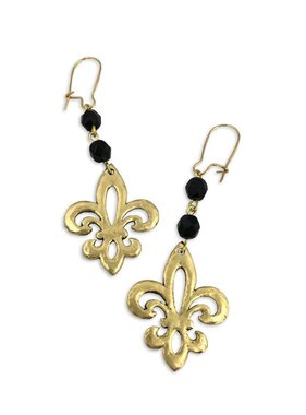 Open Fleur de Lis Earrings, Black and Gold