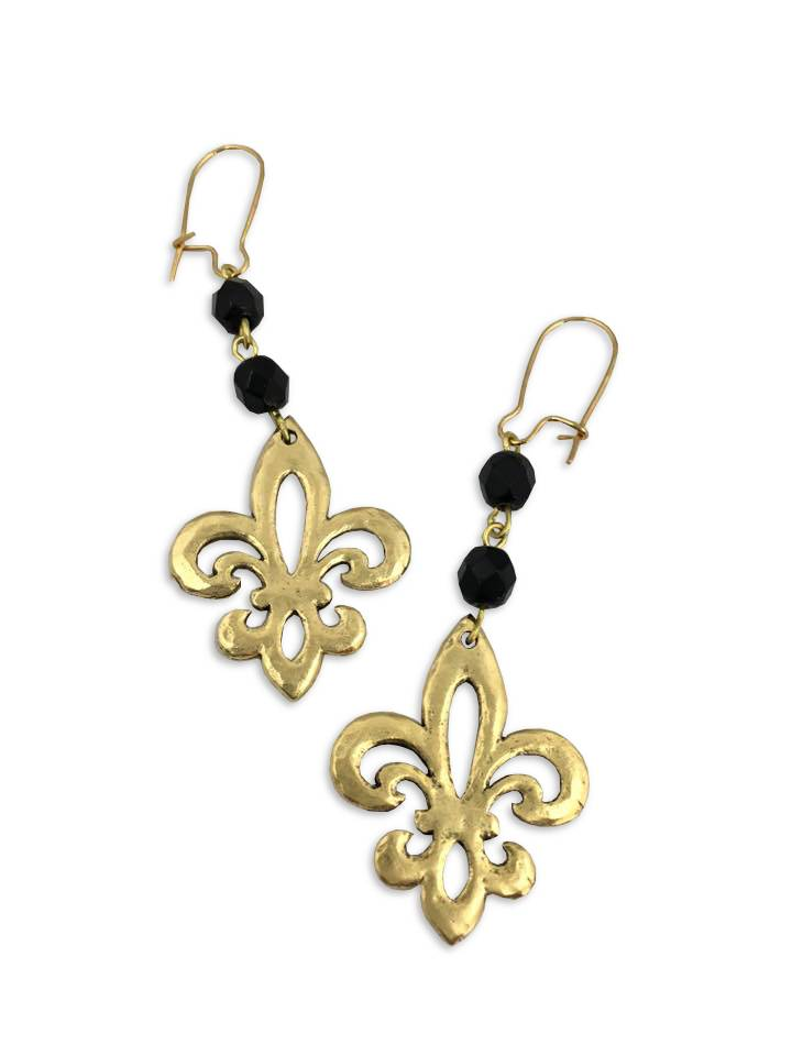 Open Fleur De Lis Earrings Black And Gold