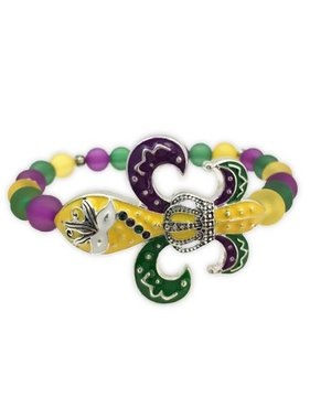 Mardi Gras Fleur de Lis Stretch Bracelet