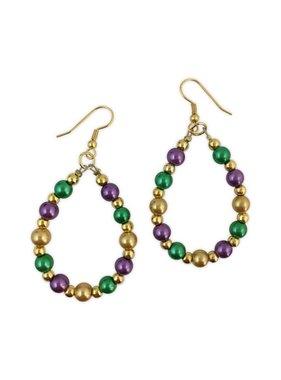 Mardi Gras Pearl Teardrop Earrings