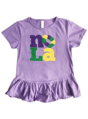 Kids NOLA King Cake Ruffle Dress
