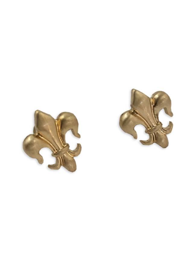 Tiny Fleur de Lis Earrings in Gold
