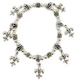 Silver Fleur de Lis Charm Bracelet