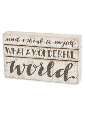 Wonderful World Slat Box Sign