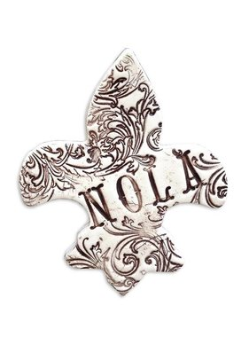 Small Pressed Ceramic Hanging, Fleur de Lis