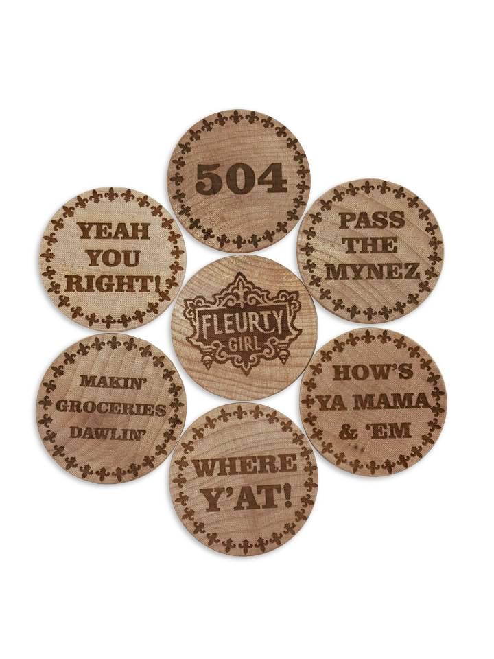 Wooden Nickel Magnet Set