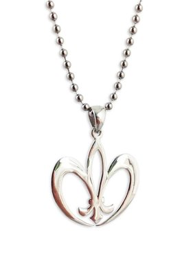 Sterling Silver Fleur de Lis Heart Necklace