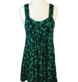 Floral Print Dress, Black/Green