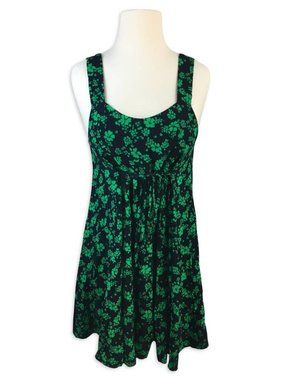 Floral Print Dress, Black/Green