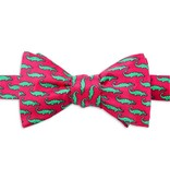 Mini Alligators Silk Bow Tie, Fuchsia