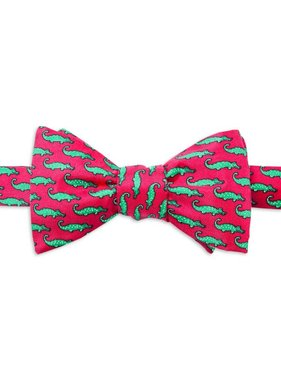 Mini Alligators Silk Bow Tie, Fuchsia