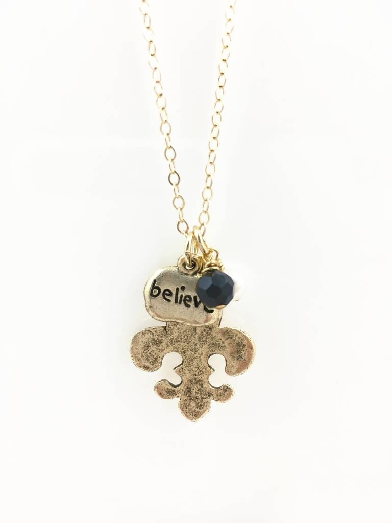 Hammered Fleur de Lis Believe Necklace