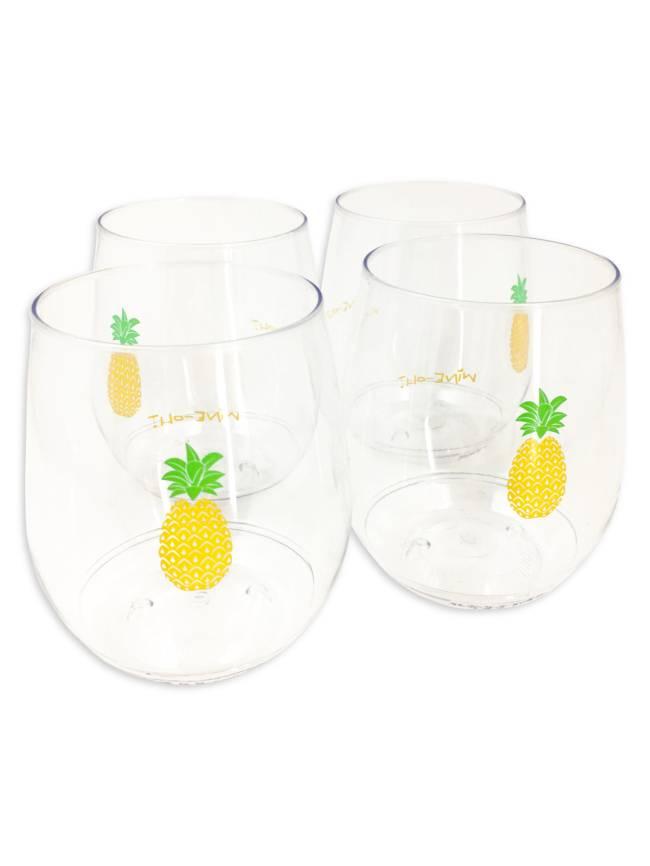 Pineapple Shatterproof Stemless Wine Glasses