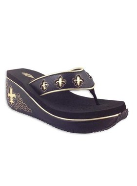 Praline Black and Gold Wedge by Volatile, Size 5