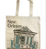 New Orleans Shotgun House Tote, Blue
