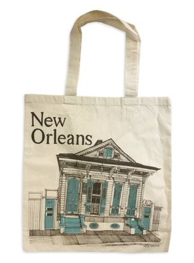 New Orleans Shotgun House Tote, Blue