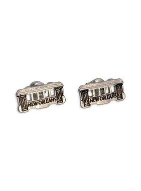 New Orleans Streetcar Earrings, Silver