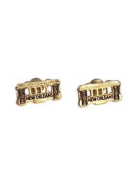 New Orleans Streetcar Earrings, Gold
