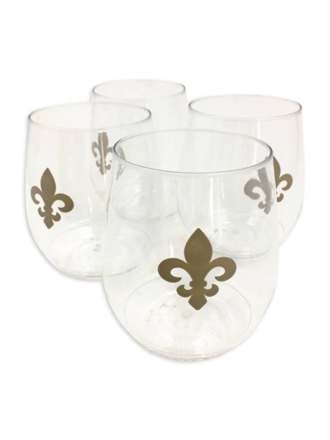 Fleur de Lis Shatterproof Stemless Wine Glasses