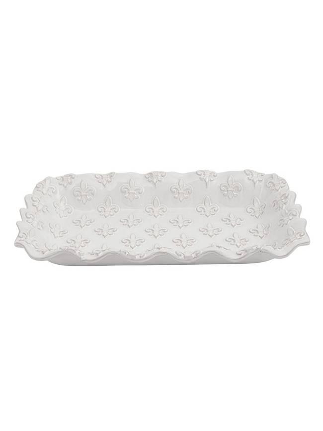 Mud Pie Fleur de Lis Ruffled Baking Dish