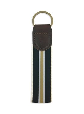 Preppy Stripe Black & Gold Keychain
