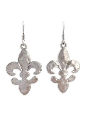 Hammered Fleur de Lis Earrings