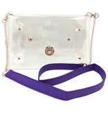 Clear Purse with Chain, Purple