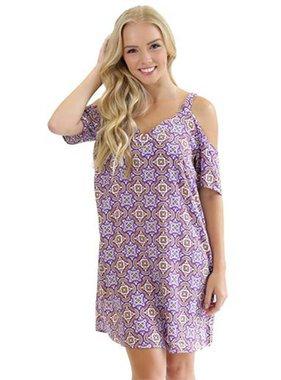 Purple & Gold Cold Shoulder Dress