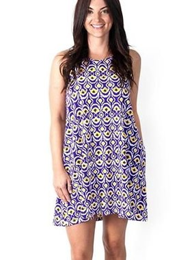 Purple & Gold Splash Swing Dress