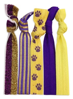 Purple & Gold 5 Pack Hair Tie/Bracelet