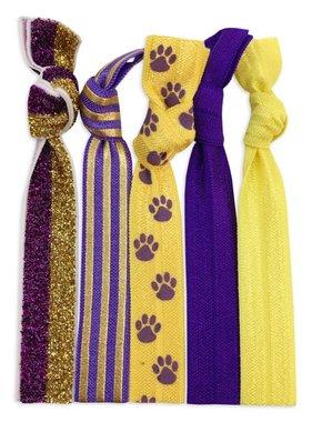 Purple & Gold 5 Pack Hair Tie/Bracelet