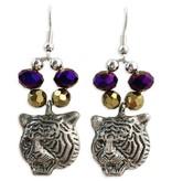 Purple & Gold Crystal Tiger Earrings