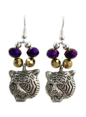 Purple & Gold Crystal Tiger Earrings