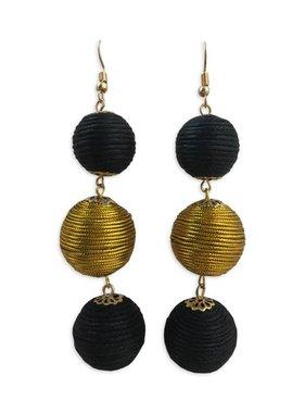 Black & Gold Ball Earrings