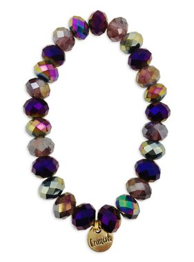 Purple & Gold Facet Stretch Bracelet