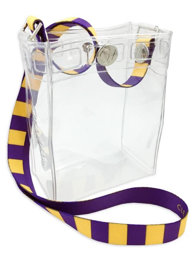 Clearware Crossbody Bag, Purple & Gold