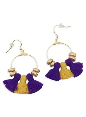 Field Goal Purple & Gold Tassel Earrings