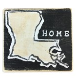 Home Malone Louisiana Heart Wooden Sign, Black & Gold