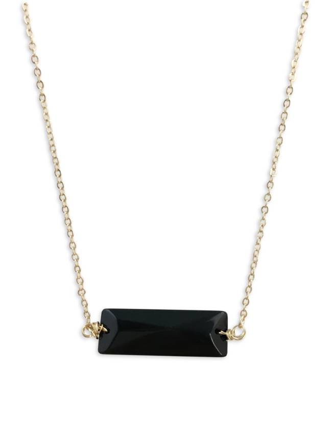 Black Stone Bar Necklace