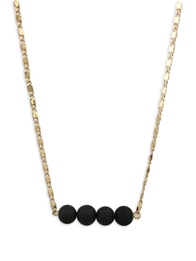 Black Beads with Gold Chain Necklace