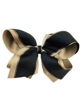 Black & Gold Metallic Edge Hair Bow