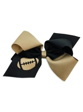 Black & Gold Football Hair Bow