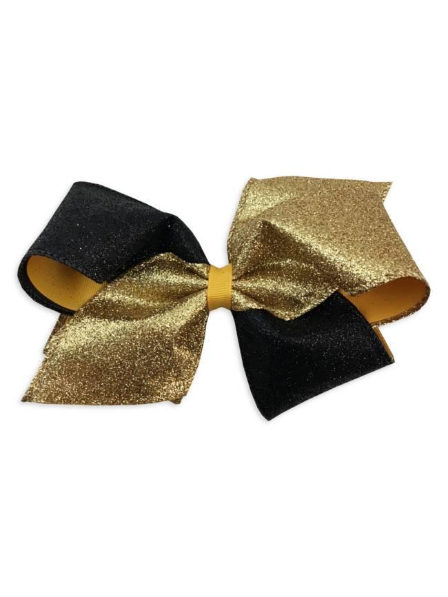 Glitter Black & Gold Hair Bow