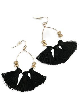 Small Tassel Earrings in Black