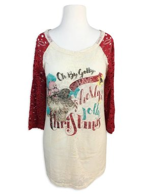 Holly Jolly Long Sleeve Lace Tee