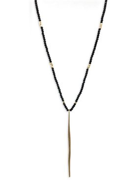 Black Beaded Necklace With Gold Bar Accent