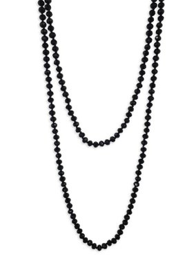 "60"" Hand Knotted Black Crystal Necklace"