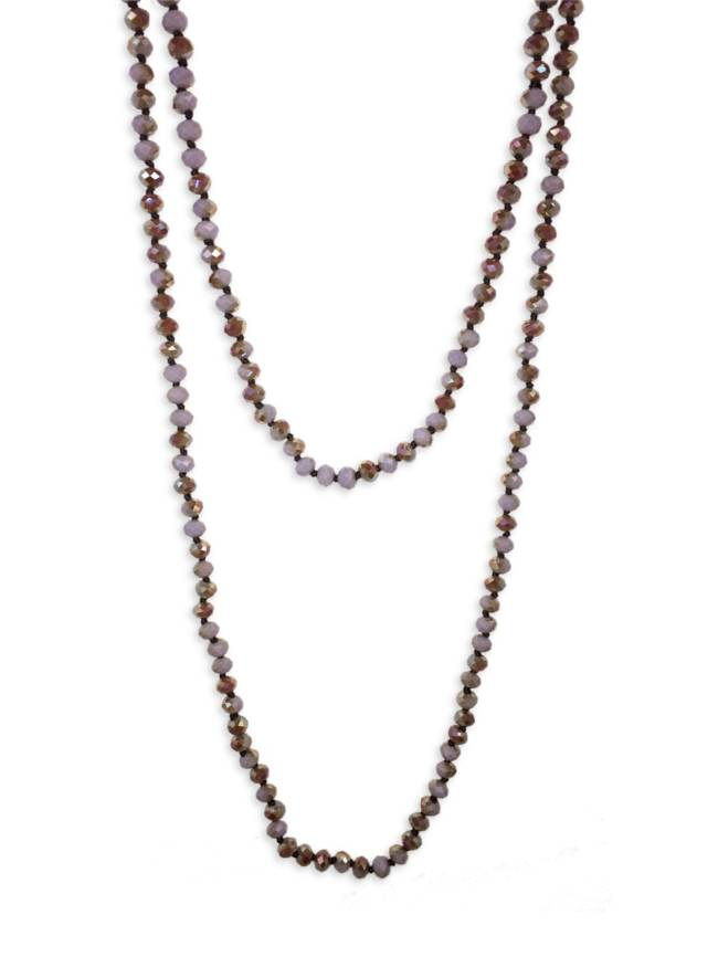 "60"" Hand Knotted Purple Crystal Necklace"